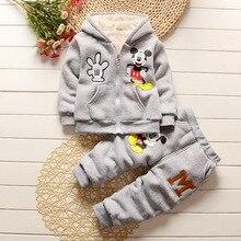Bébé filles hiver vêtements garçons vêtements ensembles polaire chaud cartton Mickey nouveau-né bébé filles vêtements 2 pcs Enfants survêtement vêtements