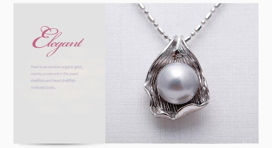Edler Schmuck Daimi Riesige Perle Anhänger 10-11mm Natürliche Weiße Perle Anhänger 925 Sterling Silber Anhänger Halskette Hohe Qualität Marke Schmuck