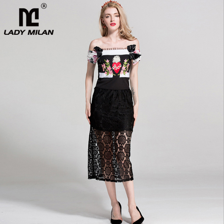 Womens Slash Neckline Sexy Off the Shoulder Embroidery Bow Detailing Blouse with Lace Skirts Fashion Runway Two Piece Dresses