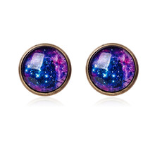 Galaxy Stud Earrings Space Glass Dome Cabochon Earrings Vintage Silver Color Earrings for Women Jewelry Accessories Gift
