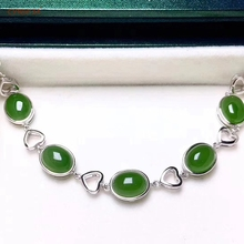 где купить Certified Natural Hetian Jade Jasper Inlaid with 925 Sterling Silver Handmade Fine Lucky Jade Bracelets High Quality Best Gifts по лучшей цене