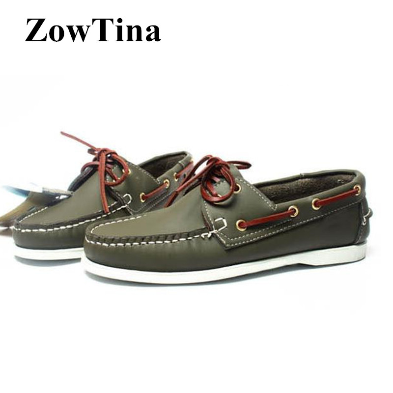 Army Green Men Leather Boat Shoes Lace