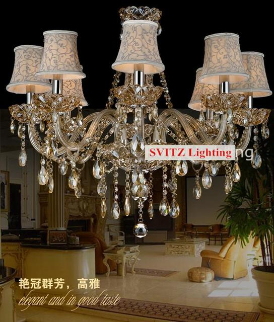 Amber color led crystal chandelier lamps with fabric lampshades ...