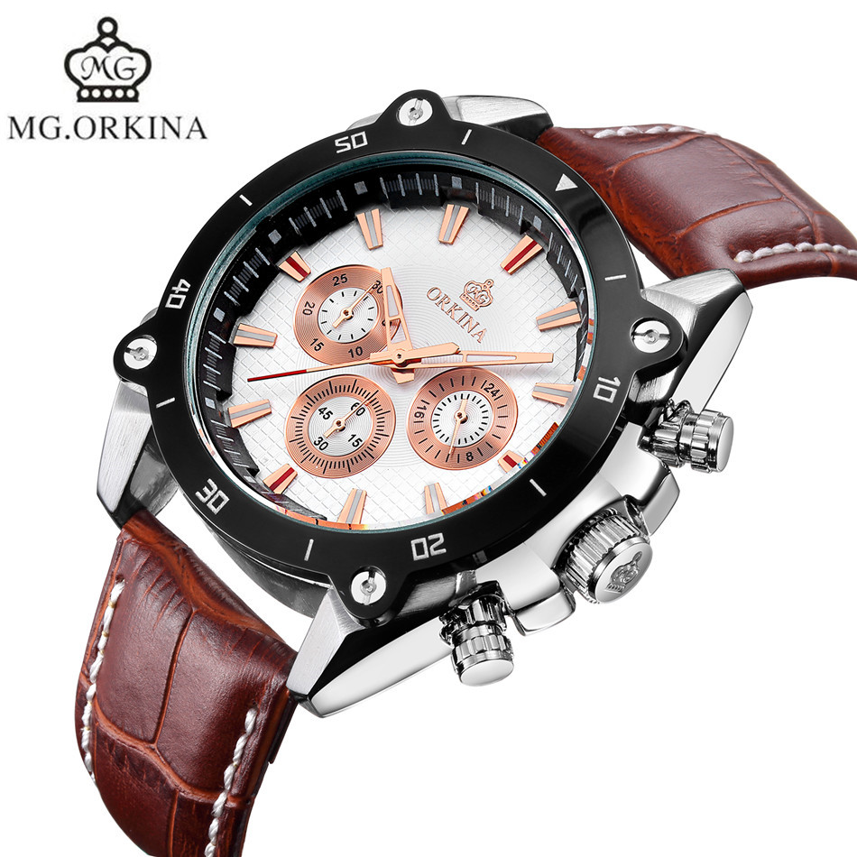 MG.Orkina Mens 6 Hands Coffee Strap Sport Quartz Wrist Watch  Gifts Gift Box Free Ship compatible bare bulb lv lp06 4642a001 for canon lv 7525 lv 7525e lv 7535 lv 7535u projector lamp bulb without housing