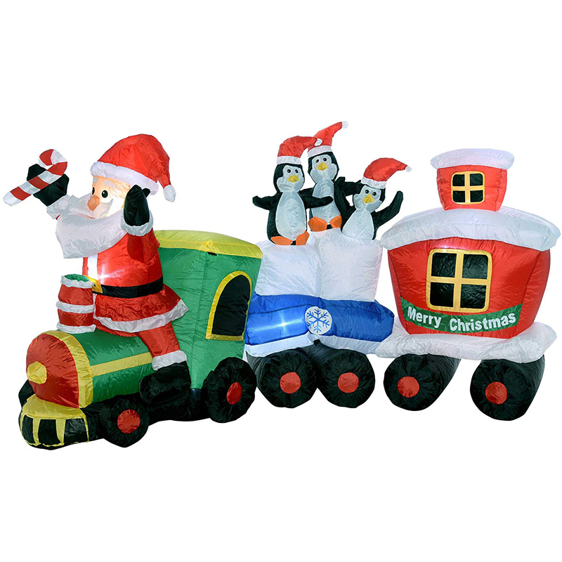 Infant Christmas Santa Claus Train with Penguin LED Lighted Giant Inflatable Christmas Ornament New Year Outdoor