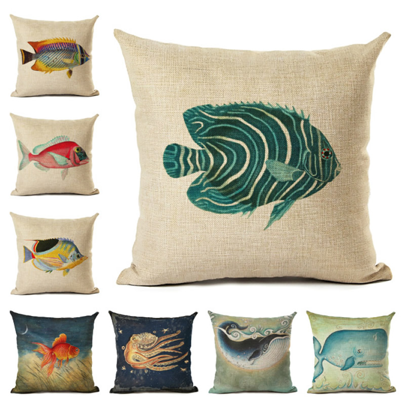 New Ocean Fish Pillow Case Cushion Cover Cotton Square Pillowcase For Sofa Car Decoration 450x450mm F