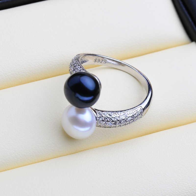 FENASY Pearl Jewelry Natural Pearl Rings For Women 925 Sterling Silver Party Dinner Luxury Vintage Ring With Double Pearl
