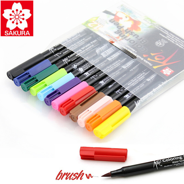 Sakura Koi Coloring Brush Pen 6 Gray/12/24/48 Color Set Flexible ...