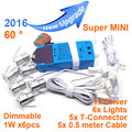 Mini regulável LED Spotlight sob - gabinete luz com 6 lâmpadas local Kits motorista para armário de cozinha Wardrobe Bar de vinhos MINI01C-1W6D