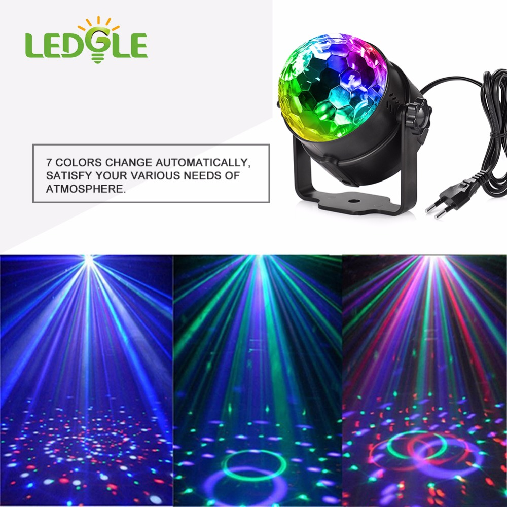 LEDGLE 7colors Voice Control RGB LED Stage Lamps Crystal Magic Ball Sound Control Laser DJ Stage Effect Light Party Disco Club