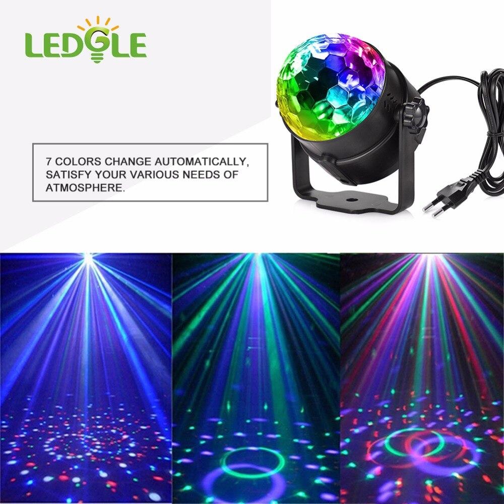 Ledgle 7 цветов голосового Управление RGB LED этап Лампы для мотоциклов кристалл магический шар звуковой Управление лазерный DJ этап световой эффе…