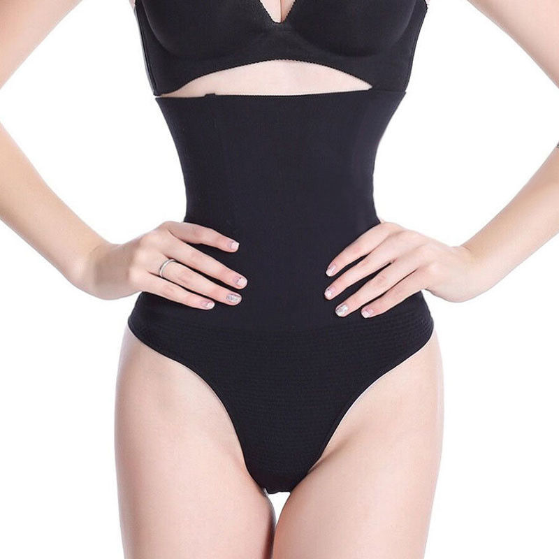 Women Boned High-Waist Trainer Tummy Control Body Shaper Thong   Panty   Shapewear