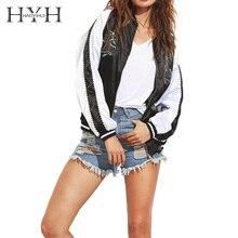 HYH HAOYIHUI Jacket Coat Woman 2018 Autumn Black Embroidered Raglan Sleeve Satin Baseball Classic Stitching Jacket Coat raglan sleeve self tie waist coat