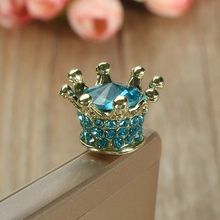 Rhinestone Crown Universal 3.5mm Dustproof Dust Plug Headphones Gadgets Stubs For iPhone 6s 7 For Samsung Xiaomi Push-Button