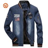 Bomber Jacket Men Fashion Autumn Winter Fleece Men Denim Jackets Male Plus Size XXXL Stand Collar