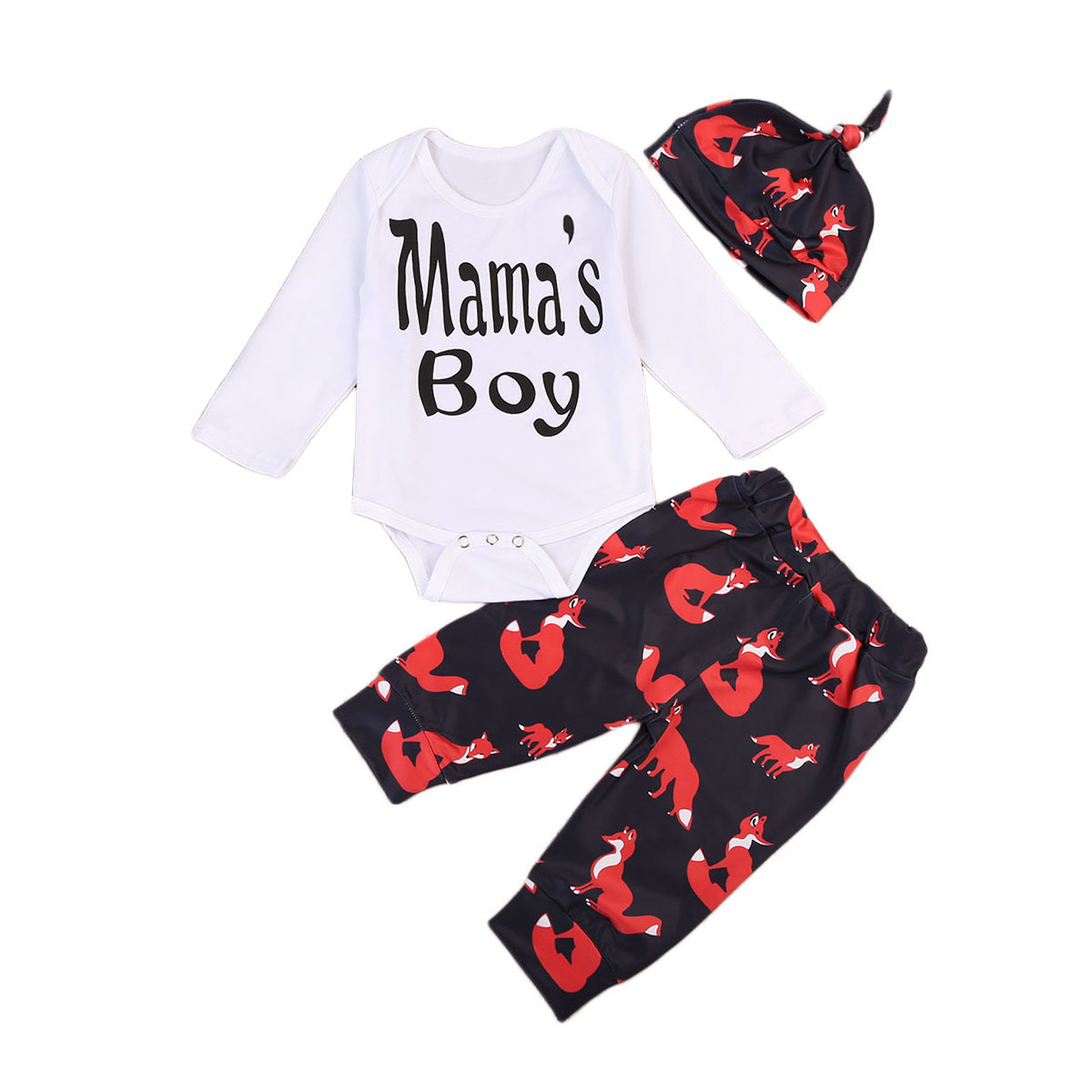 2017 Mamas Boy Newborn Infant Baby Boys Bodysuit Tops+Fox Pants+Hat 3PCS Outfits Set 0-18M Pjs Clothes