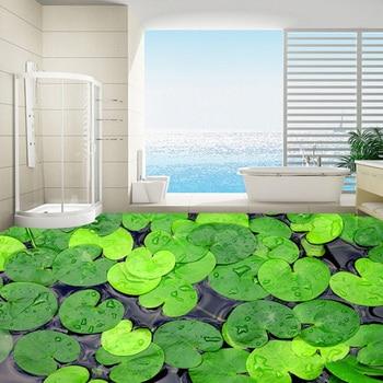 Custom Photo Wallpaper Modern 3D Green Leaves Floor Decor Paintings Bathroom Kitchen Waterproof Non-slip Self-adhesive Wallpaper