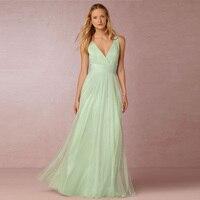 Vestido De Novia 2017 New Tulle Sexy V Neck A Line Mint Green Bohemian Bridesmaid Dresses