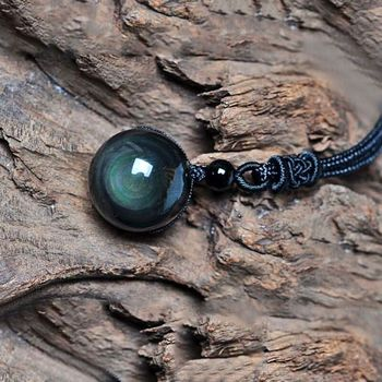 Natural Obsidian Rainbow Eye Transfer Good Luck Bead Pendant Necklace Polyester Rope Chain Jewelry For Woman