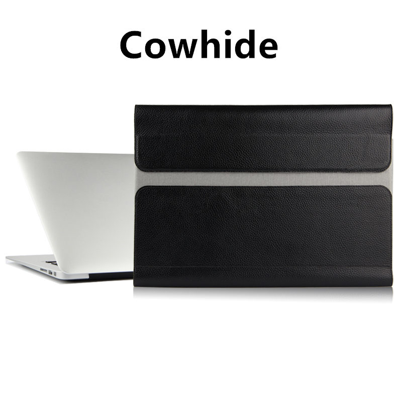 цена на Case Cowhide Sleeve For Apple Macbook Pro 13 inch Laptop Bag Genuine leather File pocket Holster Computer Cover NoteBook Pro13