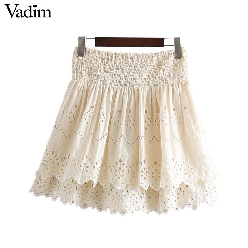Vadim Women Sweet Lace Mini Skirt Elastic Waist A Line Stylish Female Casual Cute Skirts Fladas Mujer BA633