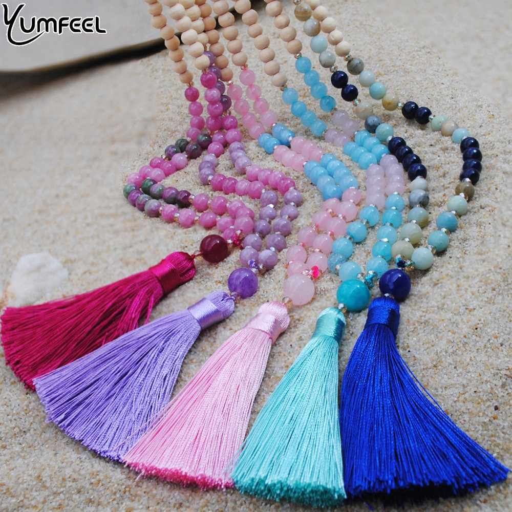 Yumfeel New Handmade Tassel Stone Necklace Jewelry Natural Wood Beaded Quartz Pendants Necklaces Women Gifts Long