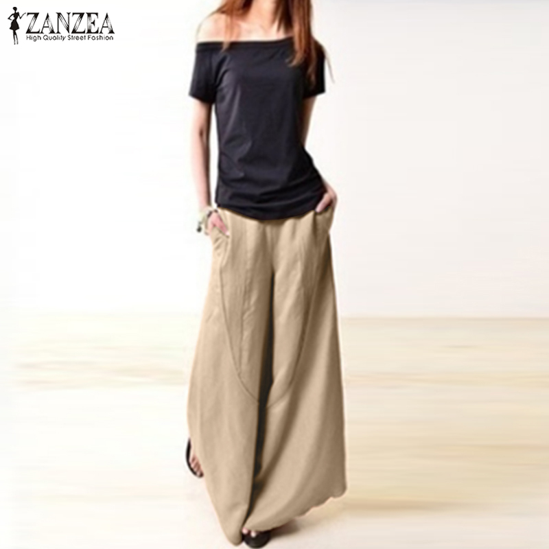 2018 ZANZEA Women Pantalon Palazzo Oversized Vintage Lady Casual   Wide     Leg     Pants   Female Elastic Waist Autumn Party Long Trousers