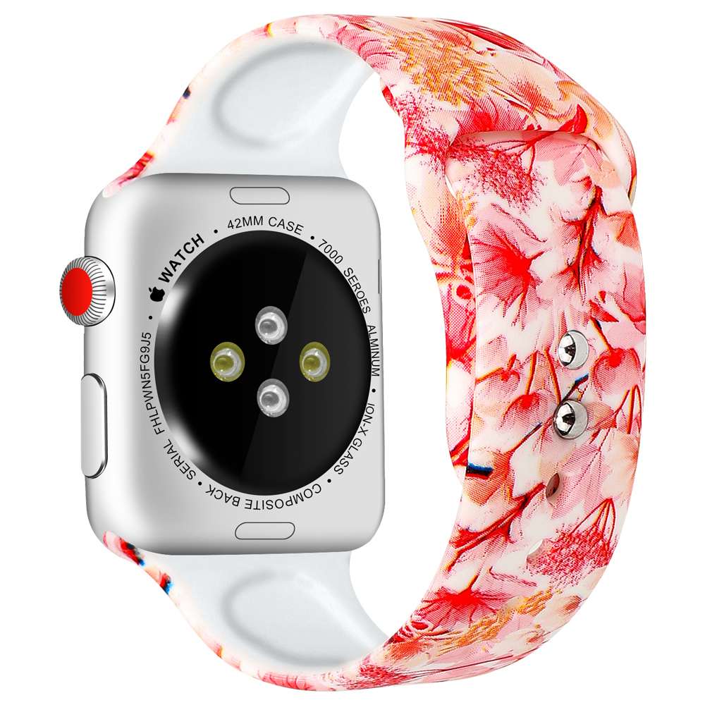 Silicone Strap For Apple Watch band 44mm 40mm pulseira iwatch 42mm 38mm Printing women bracelet apple Watch series 5 4 3 2 1 4
