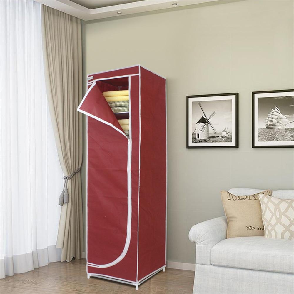 Finether Tall 5 Narrow Shelf Storage Unit,Portable Closet Storage Organizer  Clothes Wardrobe Red