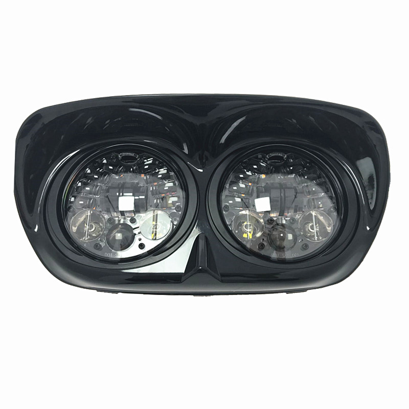 2017 Newest 5-3/4 5.75 inch Dual LED Headlight Round Projector Daymaker Black For Harley Dvidson Road Glide Dyna Street Bob