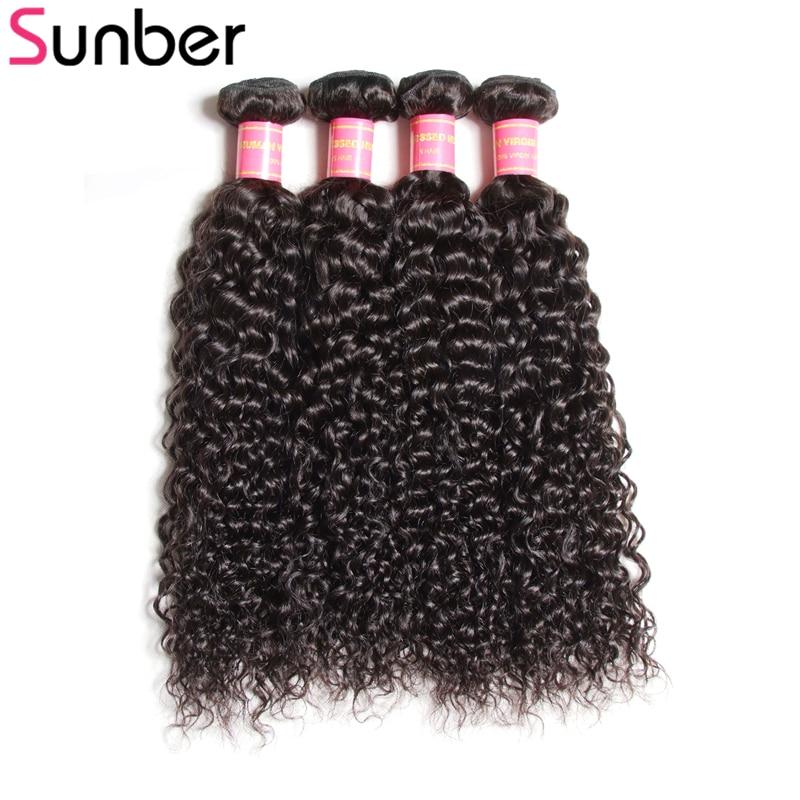 SUNBER HAIR Brasileiro Encaracolado Tecer Cabelo Humano 4 Ofertas - Cabelo humano (preto)