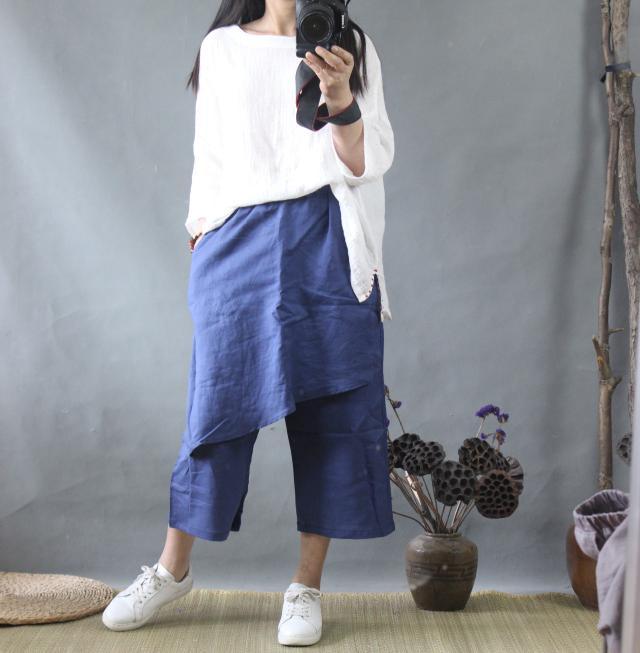 New Casual Loose Unique Apron Patchwork Design Pure Ramie Linen Capris Summer Cool Cozy Lady Fisher