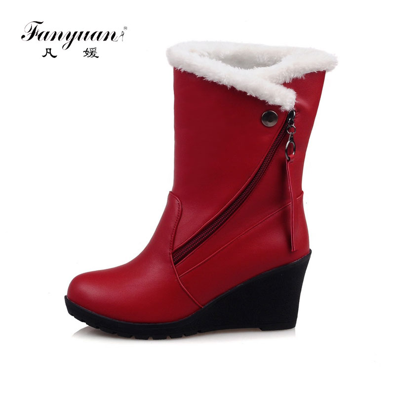 b88885849b7 Fanyuan High Heel Wedge Boots Plush Winter Boots Women Zip Comfortable  Rubber Snow Boots Warm botas mujer Plus Size 30-43 Black