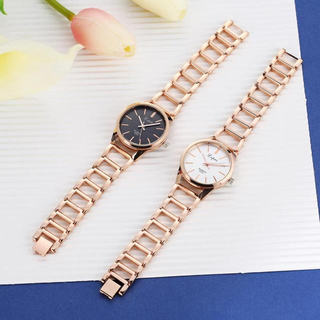 lvpai Women Alloy Strap Rhinestones Dial Plated Analog Quartz Bracelet Watch Wristwatch