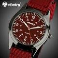 INFANTARIA Relógios de Quartzo Das Mulheres Dos Homens Relógios Top Marca de Luxo Ultra Fina Vermelho Cinta de Nylon Militar Do Exército Relógios Relogio feminino