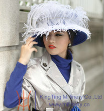 Fashipn Women Dress Satin Ribbons Floppy Feathers Wide Brim Cap Lady's Top Hat Derby Wedding Church Hats Blue Black