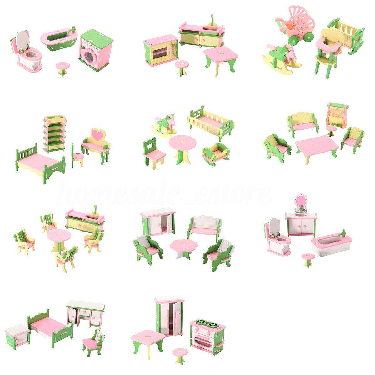 49 pcs 11 ensembles Bébé Meubles En Bois Maison de Poupée Miniature Enfant Jouer Jouets Cadeaux