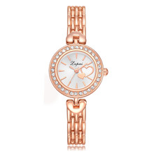 Fashion Quartz Watch Heart Women rose gold Silver Stainless Steel band Rhinestone Relogio feminino Women's Watches Ladies #0925(China)