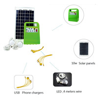 Multifunctionele Portable 10 W Zonnepaneel Power Generator Verlichting Lamp LED Zonne-energie Lamp Systeem Kit Outdoor Camping Kas