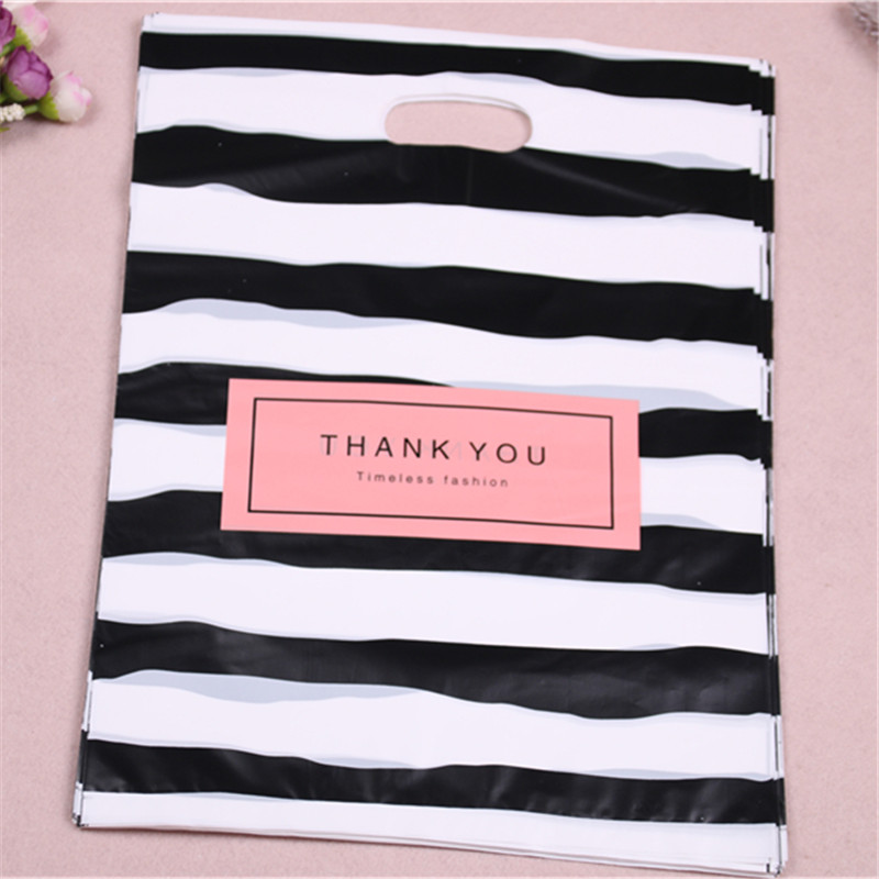 New Design Wholesale 100pcs/lot 25*35cm Luxury Fashion Shopping Plastic Gift Bags with Thank You Favor Birthday Packaging-in Gift Bags & Wrapping Supplies from Home & Garden