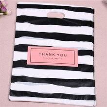Sacchetti di plastica del regalo di acquisto di modo di lusso 25*35cm del nuovo commercio allingrosso 100 di progettazione con grazie bomboniera limballaggio di compleanno