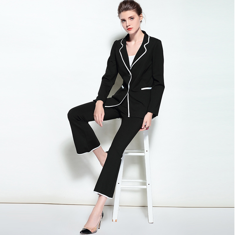 Женские комплект из двух предметов Профессиональный деловых женщин костюмы 2018 взлетно посадочной полосы Формальные женские брюки с принто