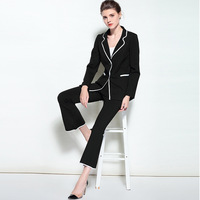 Ladies Two Piece Set Professional Business Women Suits 2018 Runway Formal Womens Print Pants Jacket Blazer