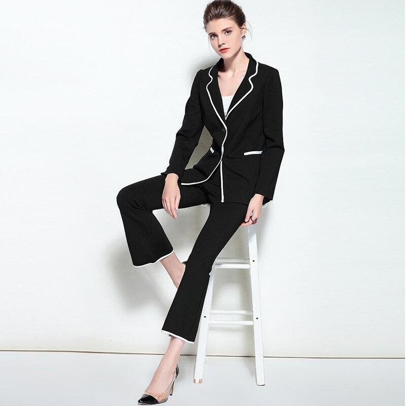 Ladies Two Piece Set Professional Business Women Suits 2018 Runway Formal Womens Print Pants ...