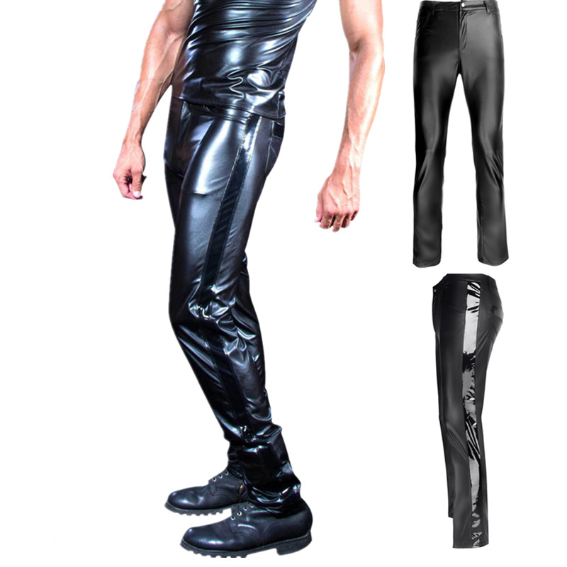 Plus Size S-XXL Male Leather Pants Male Trousers Tight Leather Pants Male Motorcycle Pants Pantalon Homme Pants Men Trousers