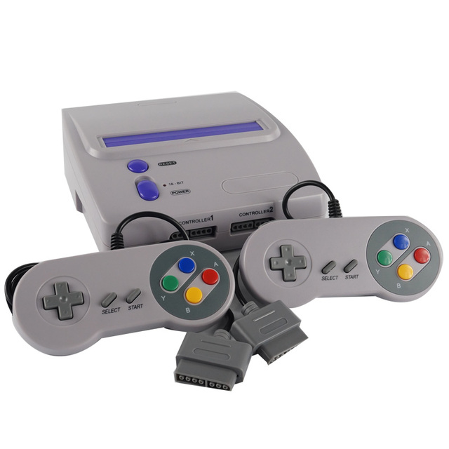 TV Video Game Console for Snes 16 Bit Games with Two Wired Gamepads ...