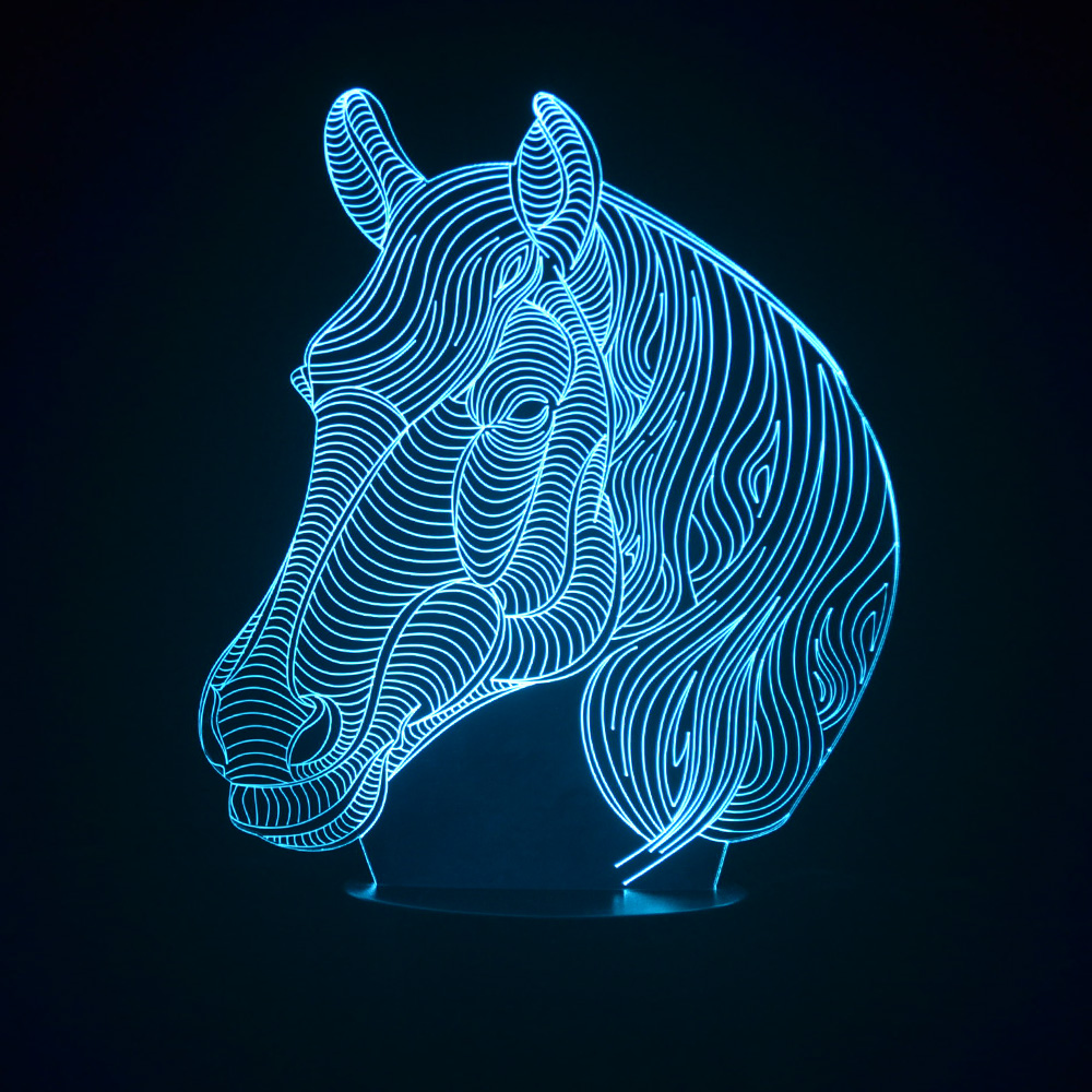 Night lights designs - Creative Design Nightlights Horse Head Table Lamp 3d Led Lampara Decoration Multi Colored Fixtures Children S