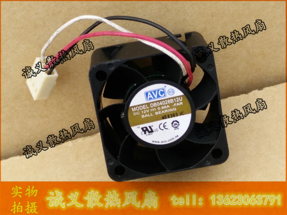 AVC DB04028B12U 40 * 40 * 28 DC 12v 0.66A double ball bearing server inverter cooling fan for avc dssc0715r2l p002 dc 12v 0 3a 4 wire 4 pin connector 100mm 70x70x15mm server square cooling fan