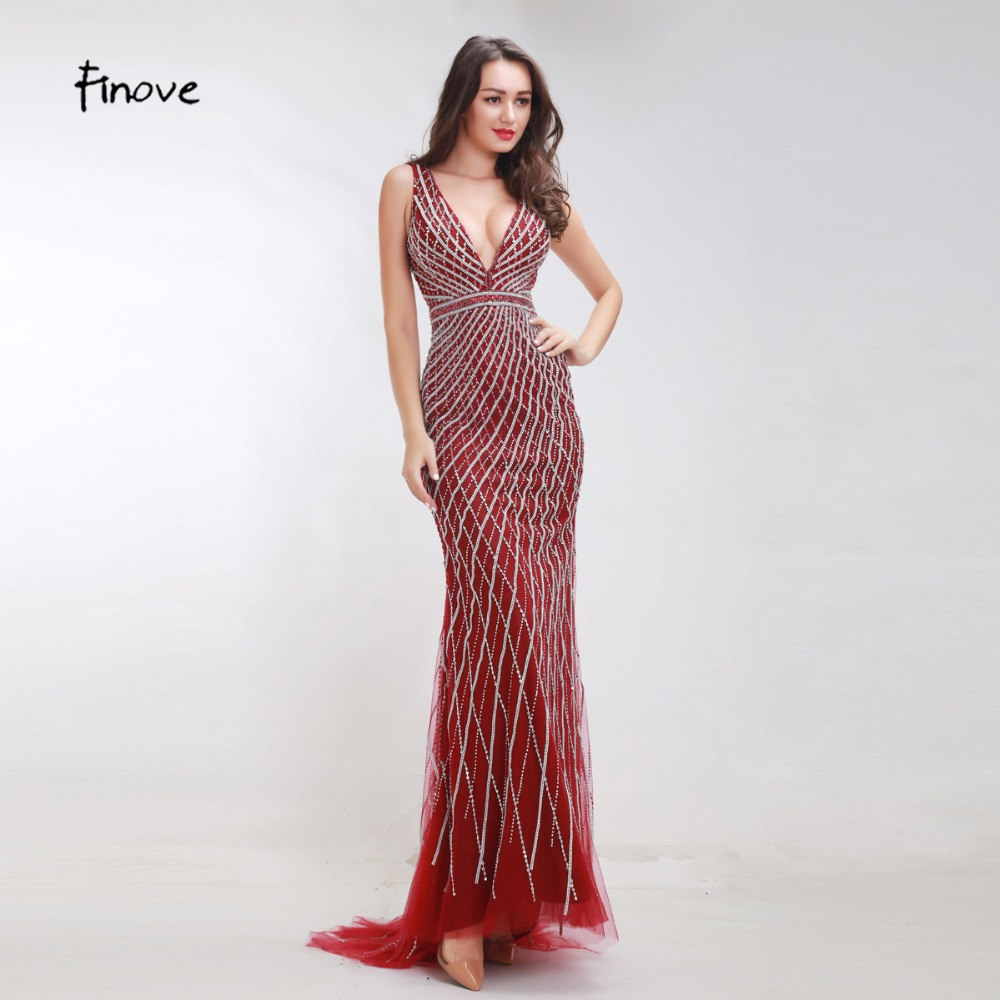 Finove Heavy Beading Evening Dresses Long 2019 New Styles Sexy Big V Neck Backless Crystals Floor