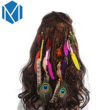 MISM 2018 Hot Sale Feather Headband Women Headdress Bohemian Style Peacock Feather Beaded Handmade Hair Bands Hair Accessories(China)